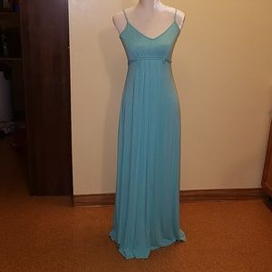 Light blue long dress.